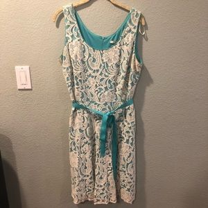 Lace and blue dress
